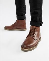 Dune - Lace Up Boots With Pebble Grain In Brown - Lyst