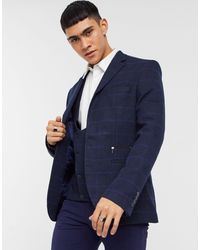 Bolongaro Trevor Темно-синий Облегающий Пиджак Из Смешанной Шерстяной Ткани