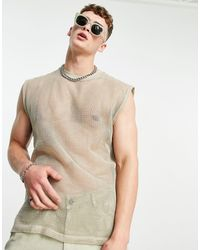 ASOS Camiseta beis extragrande sin mangas - Marrón