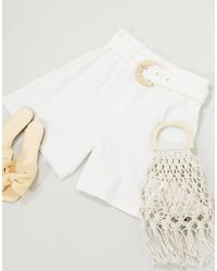 Glamorous High Waisted Relaxed Shorts With Belt Detail - White