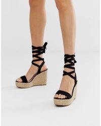 Glamorous Black Ankle Tie Espadrille Wedges