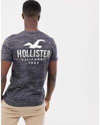 Hollister - T-shirt ras de cou imprimé dans le dos avec emblème - Gris texturé - Lyst