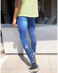 Good For Nothing Ripped Skinny Jeans With Paint Splatter - Blue