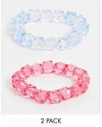 ASOS Комплект Из 2 Эластичных Браслетов С Бусинами - Розовый