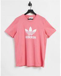 adidas Originals Adicolor - T-shirt rosa con logo grande