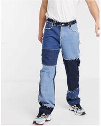 Jaded London Jaded Frayed Patchwork Skate Jeans - Blue