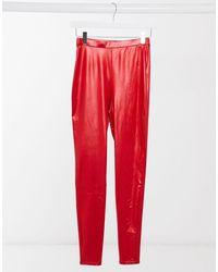 ASOS Leggings stile disco super lucidi rossi - Rosso