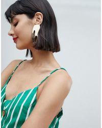 Mango - Gold Cut Out Shape Earrings In Gold - Lyst