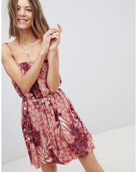 MINKPINK - Printed Cami Dress With Tie Waist And Ruffle Trim - Lyst