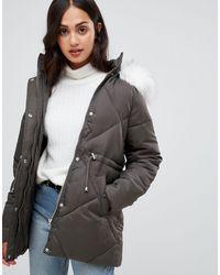 New Look Стеганое Пальто С Отделкой Из Искусственного Меха -зеленый - Серый