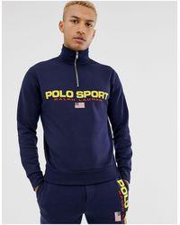 Polo Ralph Lauren Pull molletonne a demi-glissiere bleu marine Polo Sport