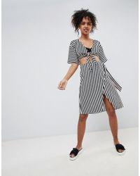 Monki - Mono Stripe Beach Skirt - Lyst