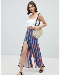 ASOS Wide Leg Trousers With Split Front In Aztec Stripe Print - Blue