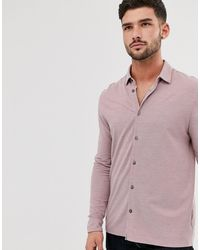Burton Button Through Polo Neck Shirt - Pink