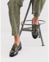 House Of Hounds - Clash Tassle Loafers In Gold Brocade - Lyst