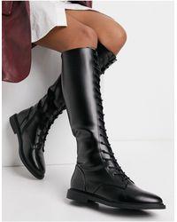 ASOS – Cassie – Kniehoher Stiefel mit Schnürung - Schwarz