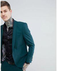Noose And Monkey Super Skinny Suit Jacket - Green
