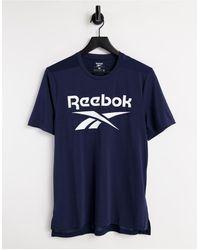 Reebok Темно-синяя Футболка С Большим Логотипом Training-темно-синий