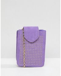 Pieces Studded Camera Bag With Cross Body Chain - Purple