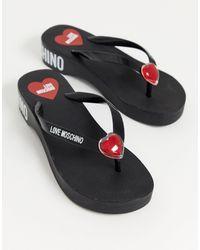 Love Moschino Черные Шлепанцы С Логотипом -черный