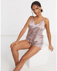 ASOS – Mix & Match – Jacquard-Pyjama-Camisole aus Satin mit Tiermotiv - Pink