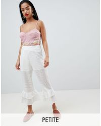 Lost Ink Broderie Trousers With Tiered Peplum Hem - White