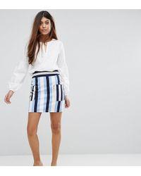 8e41e2454 Minifalda muy corta a rayas de - Azul