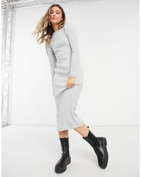TOPSHOP - Puff-sleeved Ribbed Midi Dress - Lyst