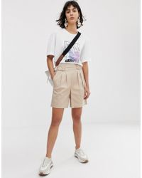 ASOS High Waist Belted Shorts - Brown