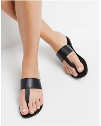 ASOS - Function Leather Toe Thong Sandals - Lyst