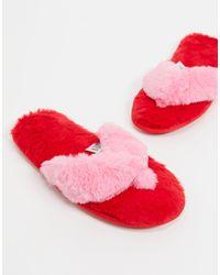 ASOS Ziva Faux Fur Flip Flop Slippers - Red