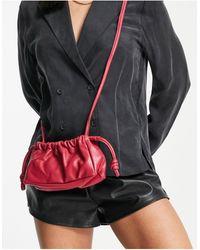 TOPSHOP Leather Drawstring Crossbody Bag - Pink