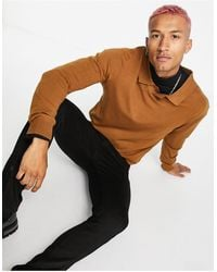 Rudie Long Sleeve Muscle Fit Knitted Sweater With Notch Neck - Brown