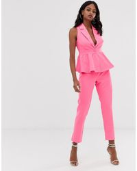 UNIQUE21 Tailored Straight Leg Trouser - Pink