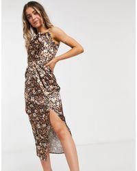 Chi Chi London Vestido lencero con estampado animal - Marrón
