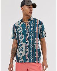 Bershka - Short Sleeved Shirt With Geo- Print In Green - Lyst