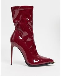 SIMMI Shoes Simmi London - Stefania - Stivaletti a calza rossi con dettaglio - Rosso