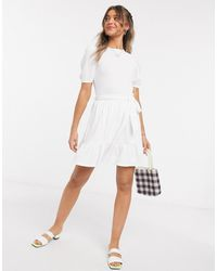 Miss Selfridge Chevron Print Smock Dress - White