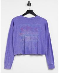 Noisy May Exclusive Oversized T-shirt With Motif - Purple