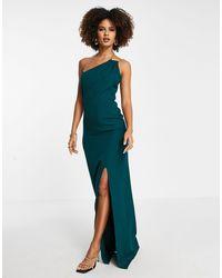 Trendyol Vestido largo con escote asimétrico dividido - Azul