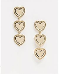 Glamorous Heart Tierred Earrings - Metallic