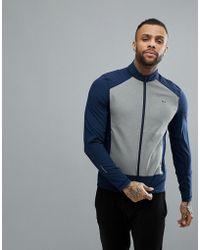 Lacoste Sport Zip Through Contrast Sleeve Jacket In Navy - Blue