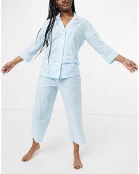 Lauren by Ralph Lauren Пижама С Брюками Капри И Рубашкой С Лацканами -голубой - Синий