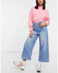 Mango Cropped Wide Leg Jeans - Blue