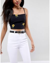 Glamorous Black Snakeskin Embossed Round Double Circle Waist And Hip Jeans Belt