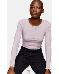 TOPSHOP Long Sleeve Button Through T-shirt - Pink