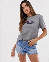 Fila Oversized Boyfriend T-shirt With Chest Logo - Gray