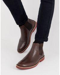 ASOS Коричневые Кожаные Ботинки Челси С Контрастной Подошвой - Многоцветный