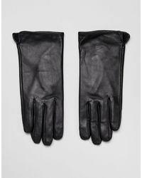 Barneys Originals Barney's Originals Touch Screen Compatible Real Leather Gloves - Black