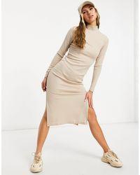 NA-KD Бежевое Платье Миди В Рубчик С Разрезами И Высоким Воротом -бежевый - Естественный